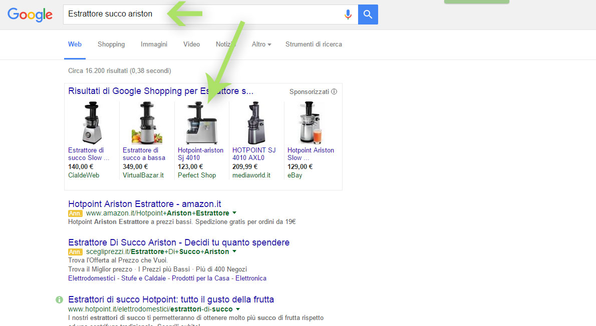 Google adwords esempio n°2, Rete Ricerca